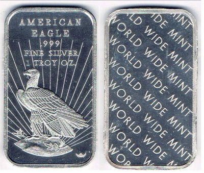 American Eagle Silver Bar World Wide Mint 1 Troy Oz