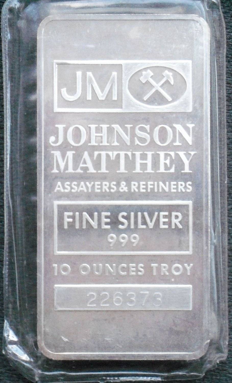 Johnson Matthey Silver Bullion Bar 10 Troy Oz