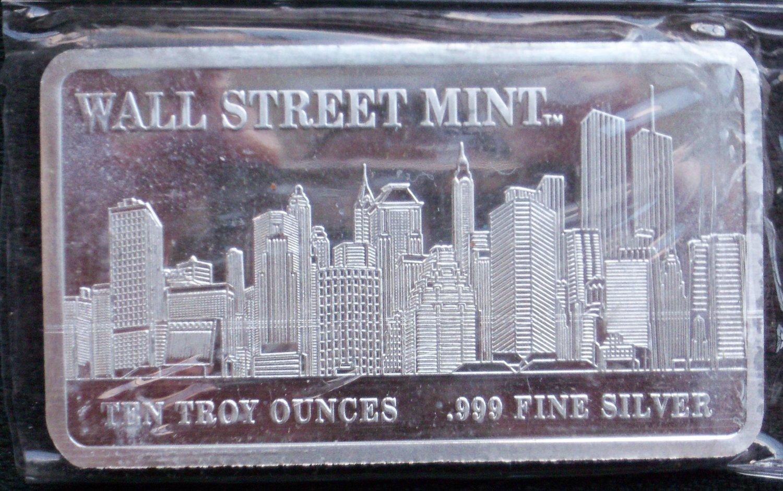 Wall Street Mint Silver Bullion Bar 10 Troy Oz