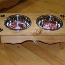 small 2 bowl elevated dog /cat feeder