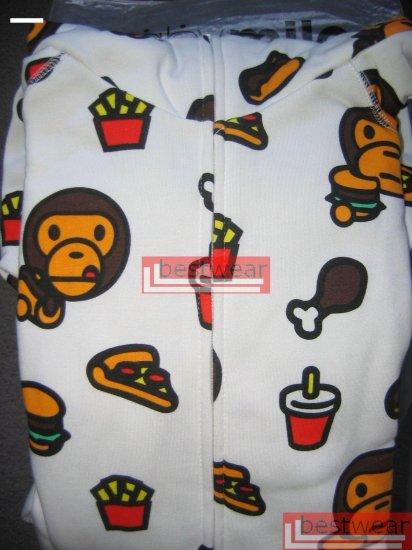 Brand New Bape A Bathing Ape Double Zipper Hoodie Baby Milo BH01 Size XL