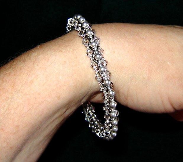 Grey Pearl Platinum Swarovski Crystal Bangle Bracelet Hematite Beads Very Sparkly