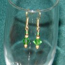 Green Bicone Crystal Pierced Earrings Gold Hooks