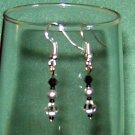 Black Swarovski Crystals Grey Pearls Pierced Earring Sterling Silver Hook