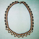 Amber Swarovski Crystals Brown Pearls Elegant Lattice Necklace Gold Toggle Clasp