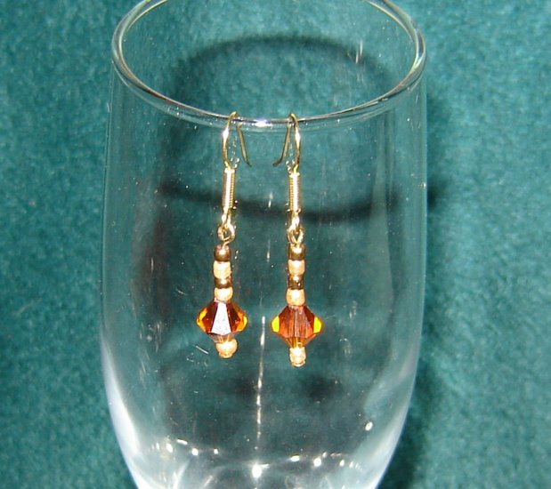 Amber Brown Bicone Crystal Earring Gold Hooks