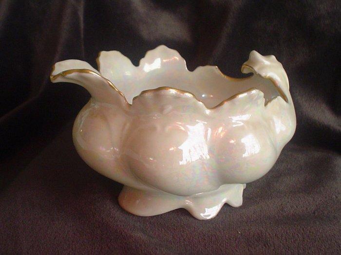 Antique M.Z. Austria Scalloped Creamer -  Lustre White Pearl