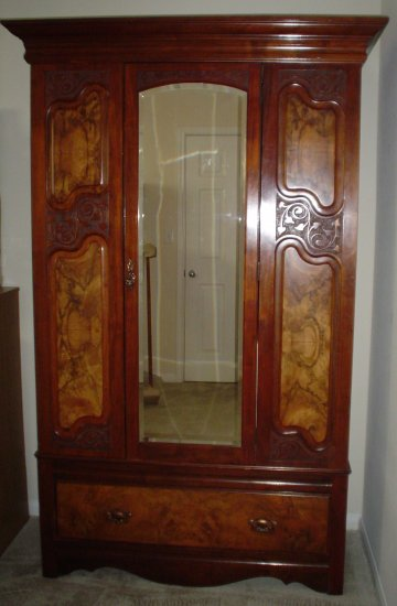Antique European Burl Wood Beveled Mirror Wardrobe