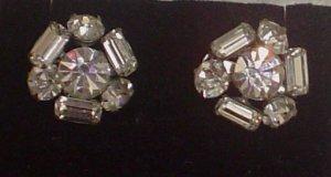 Vintage Pair of Crystal Mini Brooches