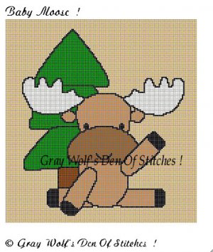 Baby Moose **Crochet , Knit Afghan Pattern**