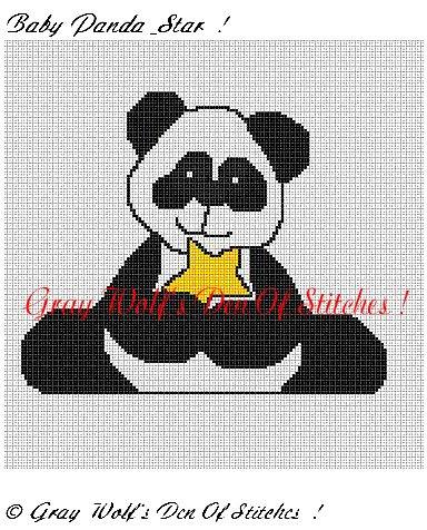 Baby Panda & Star **Crochet , Knit Afghan Pattern**
