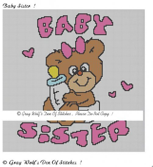 Baby Sister **Crochet , Knit Afghan Pattern**
