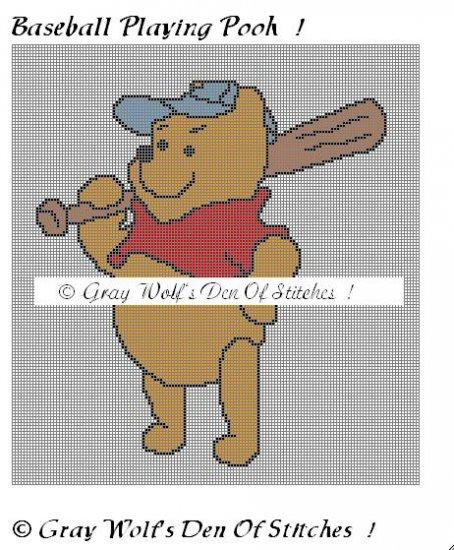 Baseball Playing Pooh **Crochet , Knit Afghan Pattern**