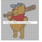 Baseball Playing Pooh **Crochet , Knit Afghan Pattern**