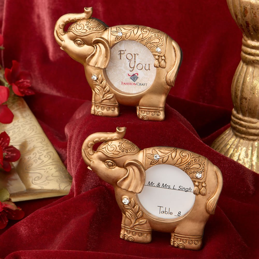 Good luck gold Indian elephant picture frame / placecard holder