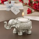 Good luck silver Indian elephant candle holder