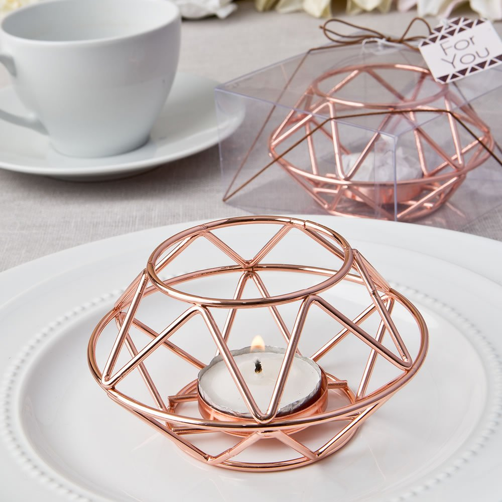 Geometric design rose gold metal tealight candle holder
