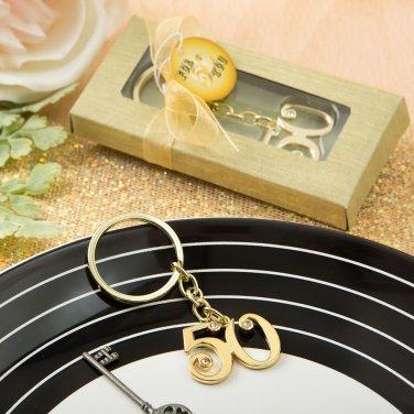 Set 6x 50th design gold metal key chain