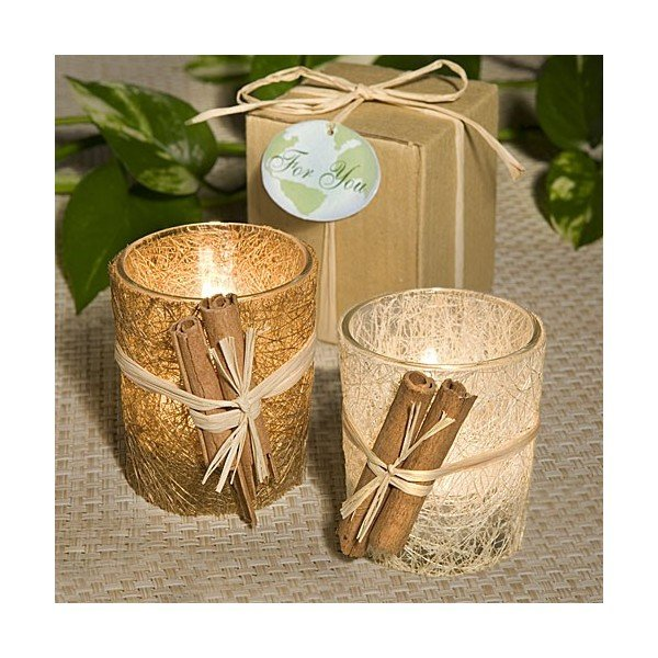 2x Natural Rattan Candles with Cinnamon Accents
