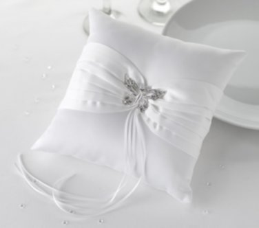 Ring Cushion with Crystal Butterfly Decoration -White