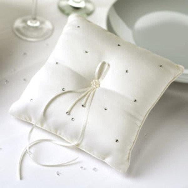 Ring Cushion with Rhinestone Decorations - Ivory