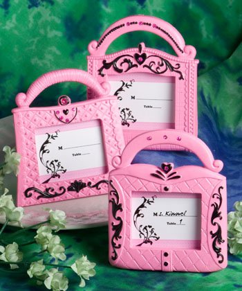 Pretty in Pink Collection handbag design place card frames