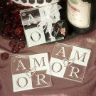 Amor Glass Coaster Favors (Set of 2)