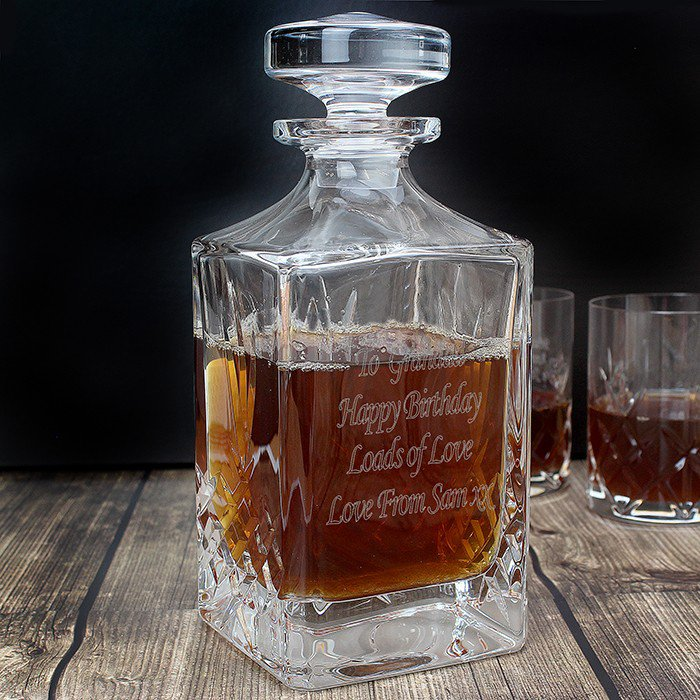 Engraved Cut Crystal Decanter