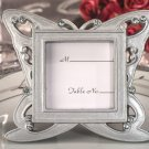 Stylish butterfly design silver place card frame favor