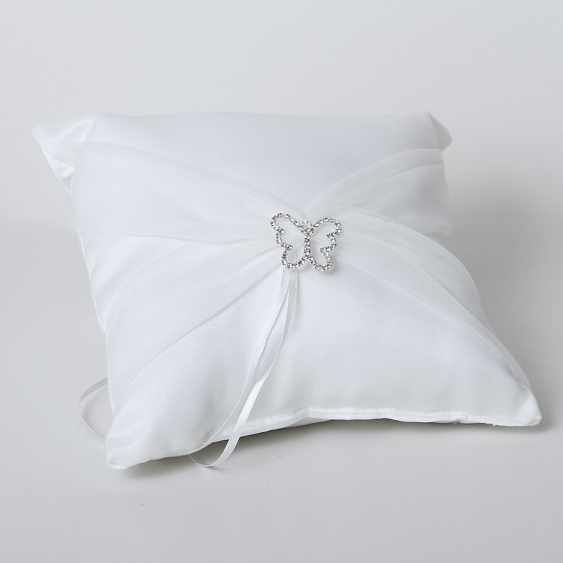 Satin Ring Pillow with Organza Sash & Butterfly Buckle - White