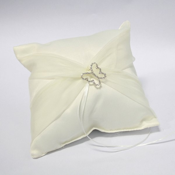 Satin Ring Pillow with Organza Sash & Butterfly Buckle - Ivory