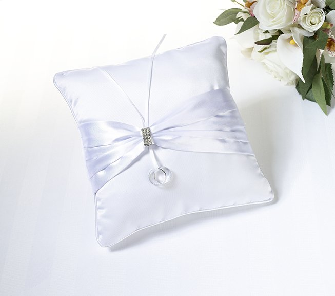 Rhinestone Ring Pillow - White