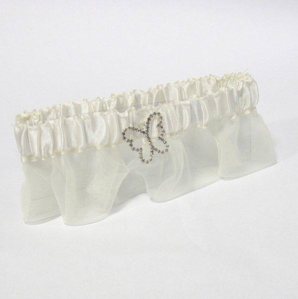 Butterfly Satin Garter - Ivory