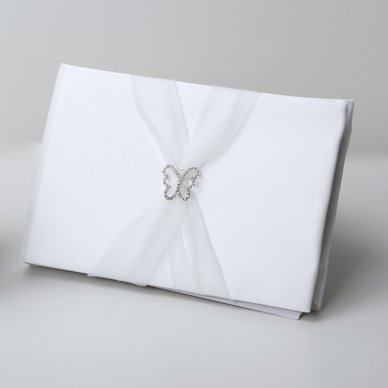 Butterfly Satin Guestbook with organza sash - White