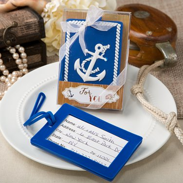 6x Nautical themed Anchor luggage tags