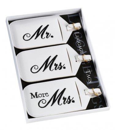 Set of 3 Mr & Mrs Luggage Tags