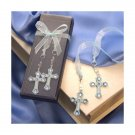 Rhinestone Cross Bookmark in Deluxe Box - Blue