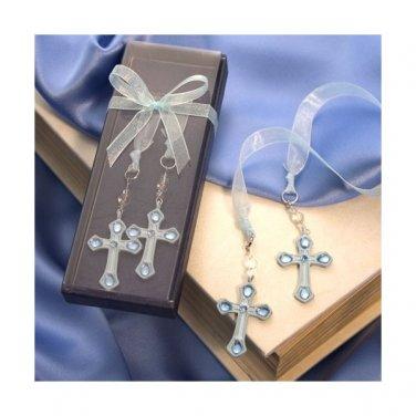 Rhinestone Cross Bookmark in Deluxe Box - Blue