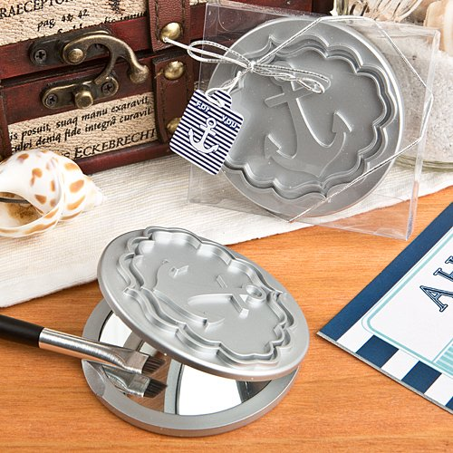 6x Round Compact Mirror Favor With Anchor Design