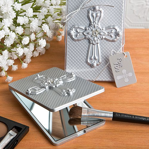 Compact Mirror Favor With Ornate Cross