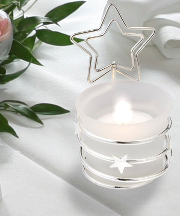 Silver candle holder & place card holder with star