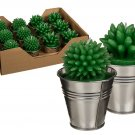 Cactus Candle in Metal Pot Favor