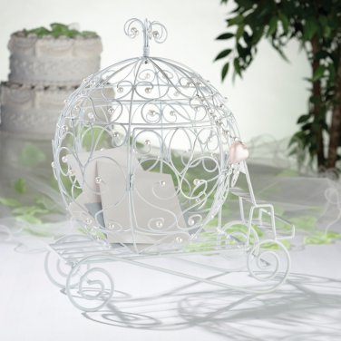 Fairy Tale White Beaded Coach Card Holder ~ Wedding Centrepiece