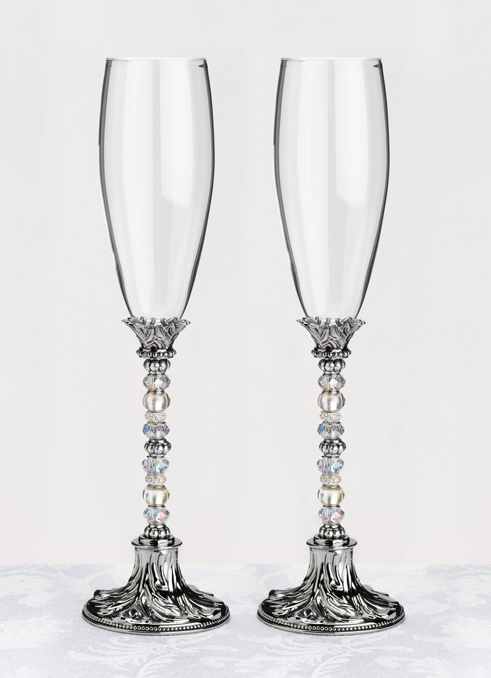 Beaded Toasting Glasses - Silver