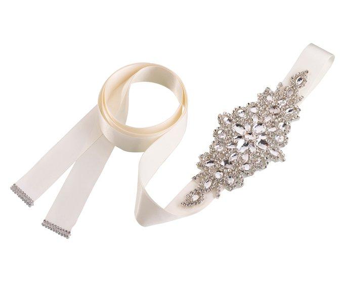 Rhinestone Bridal Belt - Ivory