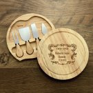 Personalised Round Cheese Knife Board Set - Crest Design