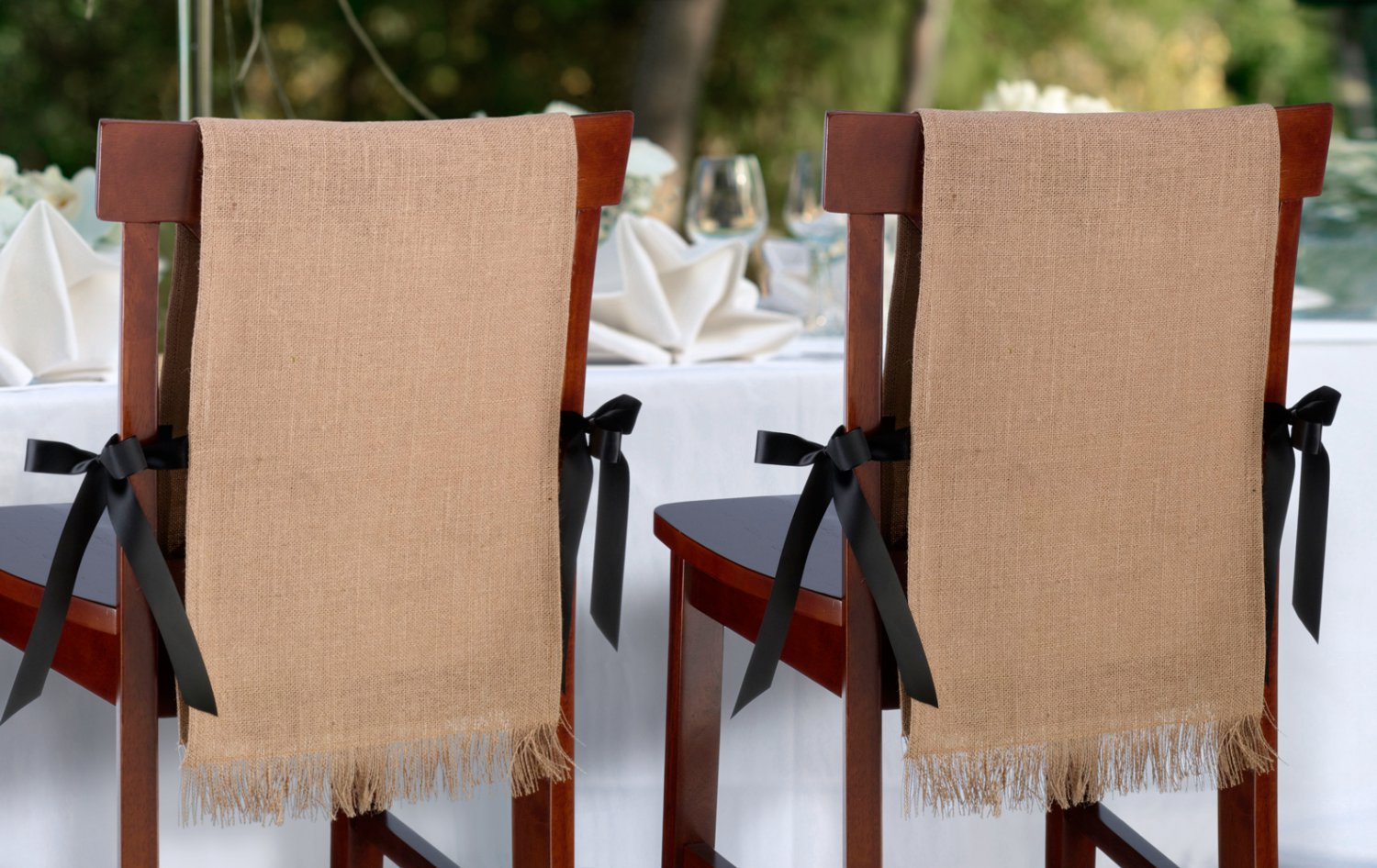 Set of 2 Burlap Chair Covers - Blank
