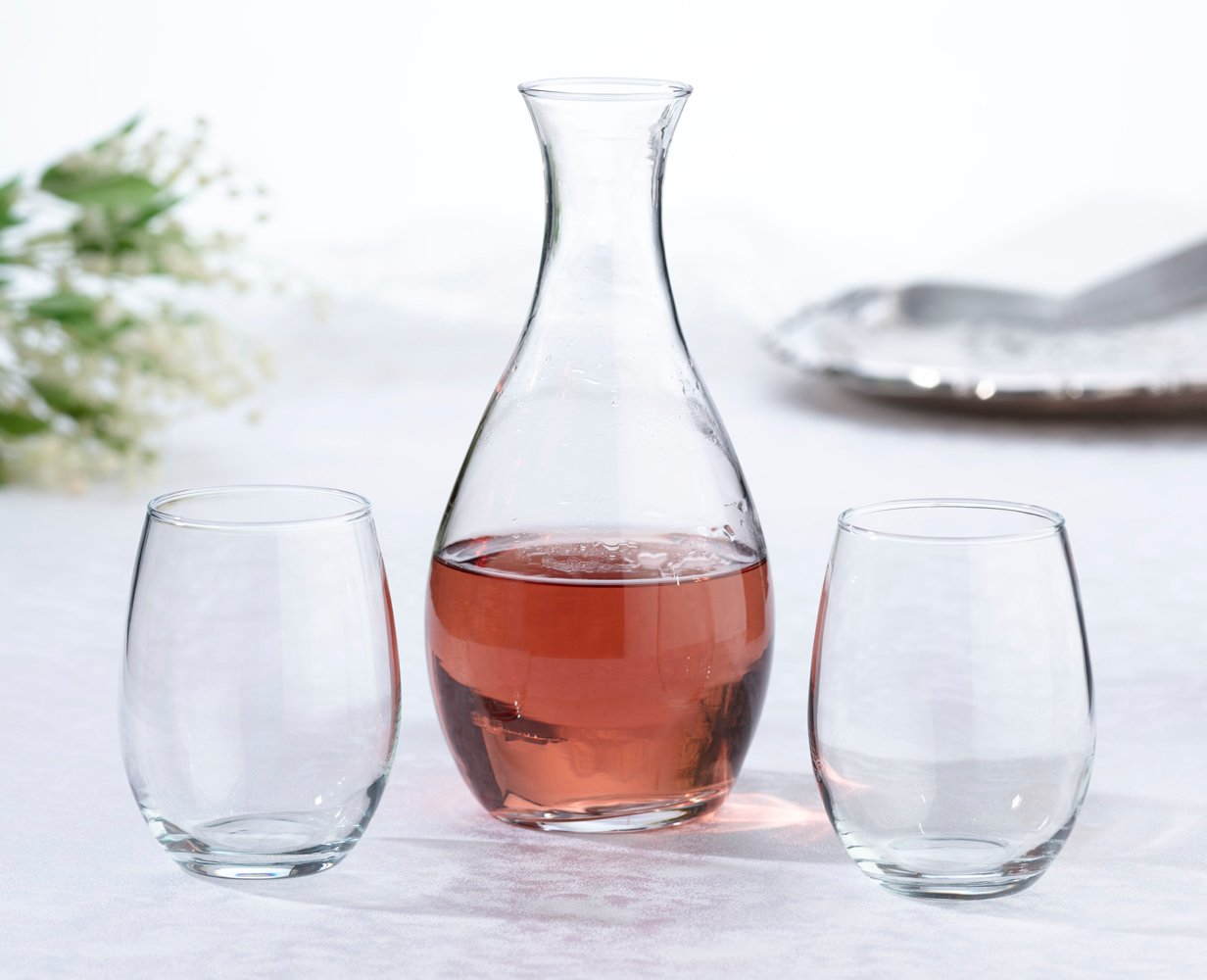 Decanter & 2 Stemless Wine Glasses Ceremony Set