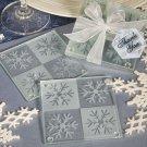 6x Lustrous snowflake glass coaster sets