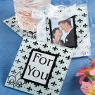 Fleur de lis design glass photo coasters